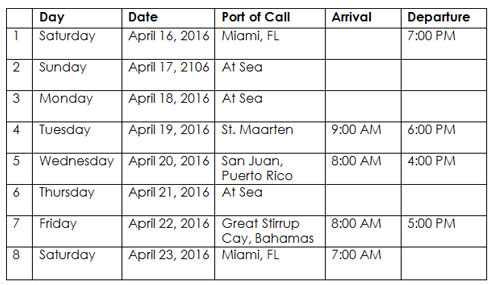Couples Cruise adult cruise April 2016 takeover itinerary